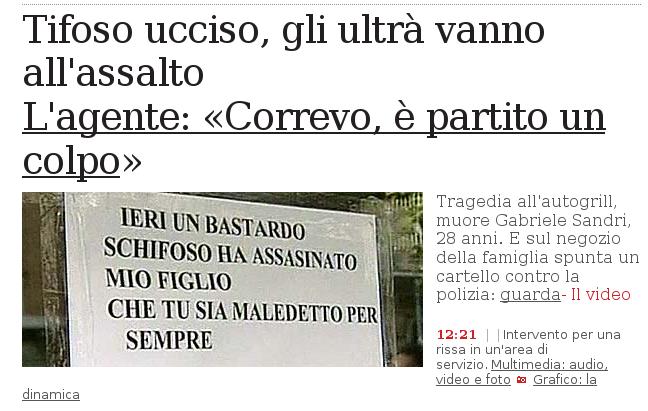 Corriere della Sera - Gabriele Sandri Day After
